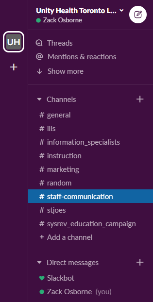 screenshot of the Library team's Slack workspace channels